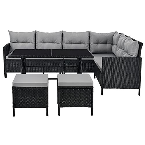 ArtLife Polyrattan Lounge Manacor | Gartenmöbel Set mit Sofa, Tisch & 2 Hockern
