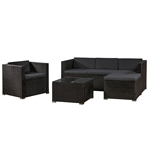 ArtLife Polyrattan Lounge Punta Cana   Gartenmöbel-Set mit Sofa, Hocker und Tisch für 4-5 Personen
