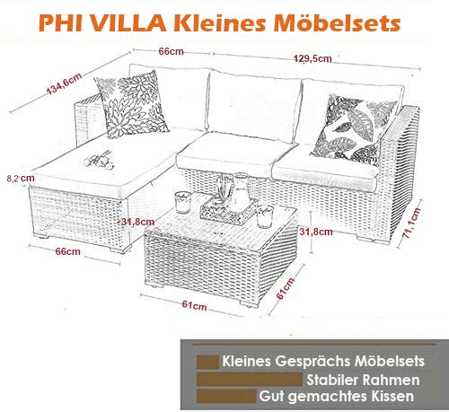 PHI VILLA Rattan Gartenmöbel Sets mit Aluminiumrahmen - 6