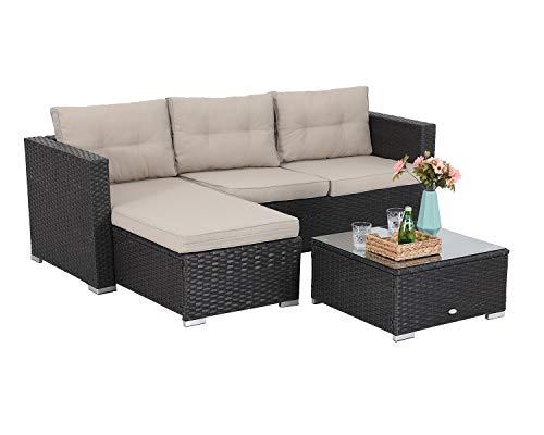 PHI VILLA Rattan Gartenmöbel Lounge Set