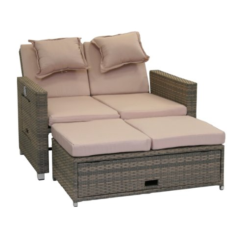 greemotion Rattan-Lounge Bahia Twin | Sofa & Bett aus Polyrattan
