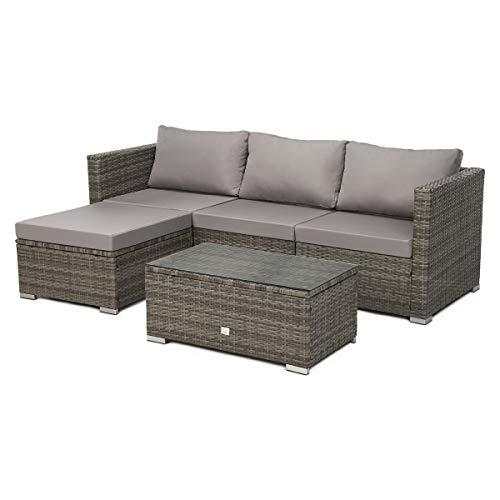SVITA Queens 2020 Poly Rattan Sitzgruppe Couch-Set Ecksofa Sofa-Garnitur Gartenmöbel Lounge Schwarz, Grau oder Braun (Grau)