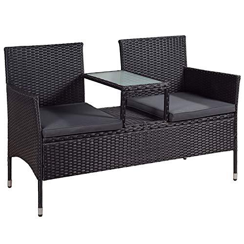 ArtLife Polyrattan Gartenbank Monaco | 2er Sitzbank mit integriertem Tisch