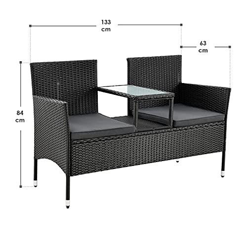 ArtLife Polyrattan Gartenbank Monaco | 2er Sitzbank mit integriertem Tisch - 2