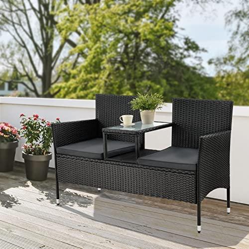 ArtLife Polyrattan Gartenbank Monaco | 2er Sitzbank mit integriertem Tisch - 3