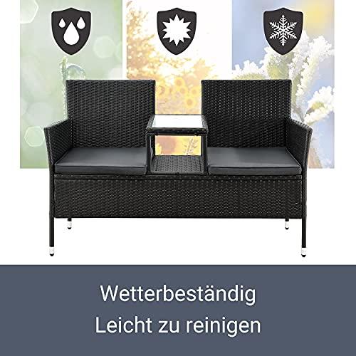 ArtLife Polyrattan Gartenbank Monaco | 2er Sitzbank mit integriertem Tisch - 4