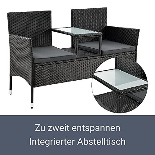 ArtLife Polyrattan Gartenbank Monaco | 2er Sitzbank mit integriertem Tisch - 5