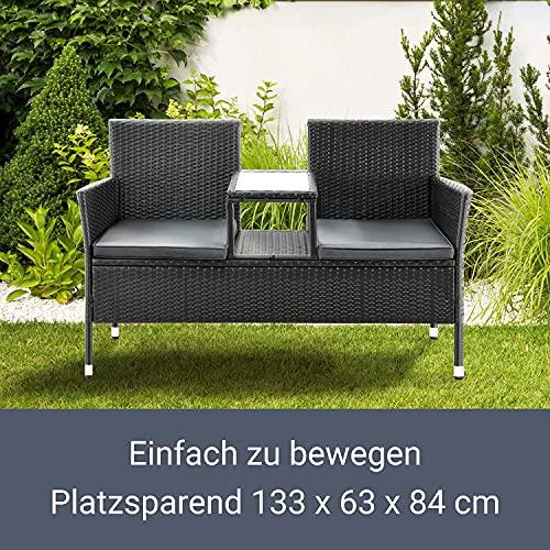 ArtLife Polyrattan Gartenbank Monaco | 2er Sitzbank mit integriertem Tisch - 7