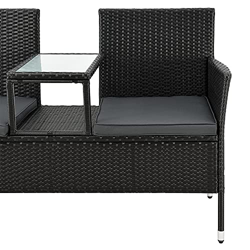 ArtLife Polyrattan Gartenbank Monaco | 2er Sitzbank mit integriertem Tisch - 8