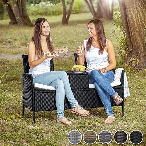 TecTake Polyrattan Gartensitzbank mit Tisch - 2